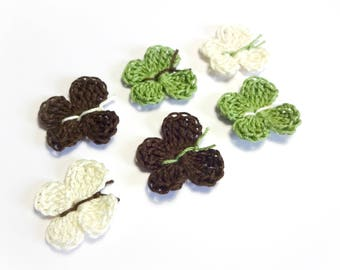6 butterflies crocheted cotton khaki green, Brown and off-white