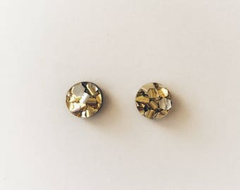 Gold + Silver Lux Glitter Round Stud Earrings