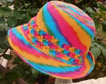 Kids Summer Hat handmade crocheted multicolor cotton soft and washable