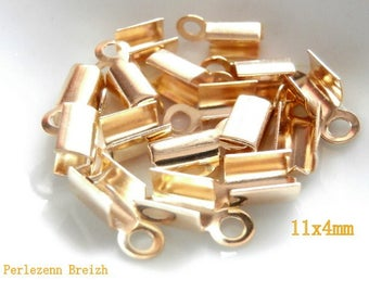 15 caps for cords 4x11mm gold color metal