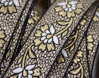 Ribbon Jacquard Floral black white gold 3 cm x 1 m