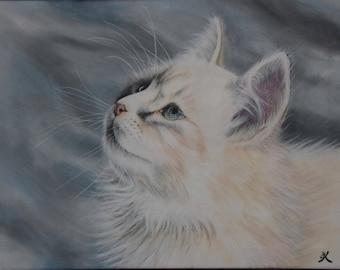 Tableau Peinture Acrylique chat blanc peinture animalière réaliste