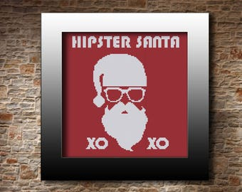 Hipster Santa cross stitch pattern Santa poster Fanny Santa pattern XOXO Christmas pattern Santa xstitch chart Xmas card Santa gift idea