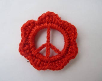 charm peace and love 5 cm handmade hand crochet Red
