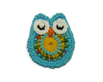 OWL, owl, light turquoise crochet