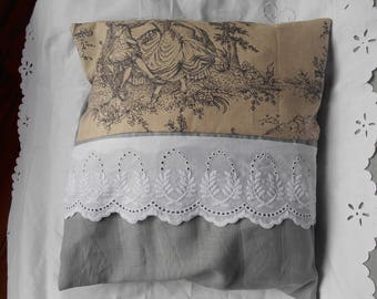 English 1 French toile and embroidery pillow cover