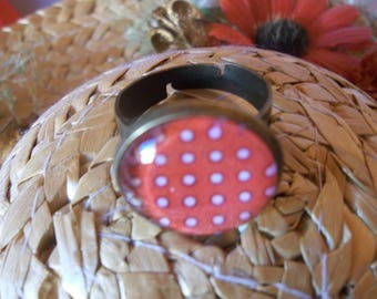 Red polka dot glass cabochon ring