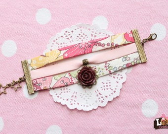 Type bracelet cuff - liberty Trio of roses and flower charm