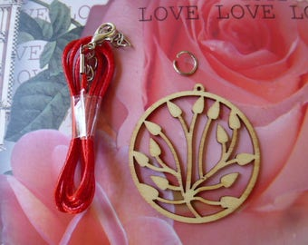 kit to customize red wooden lotus Locket necklace