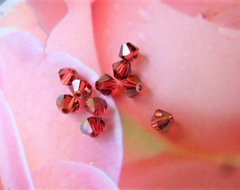 bicones beads red paparadscha satin swarovski crystal bicone beads