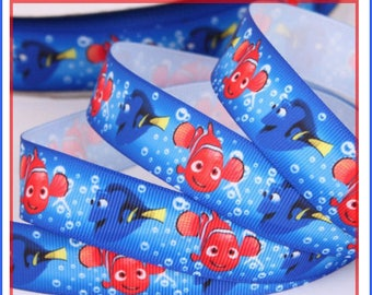 Ribbon grosgrain Nemo, sold by the yard, width 22 mm