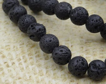 20 8mm round beads natural black lava stone