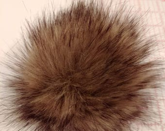 "Faux Fur Pom Pom 5"" Large Pom Fur Ball Brown Wolf Faux Pom Faux Bobble Knit Hat Crochet Hat Hat Topper"