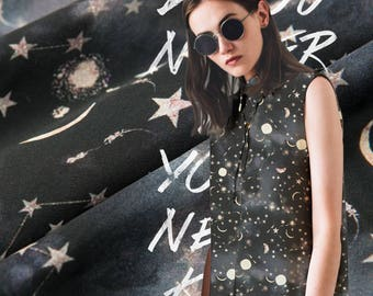 The cosmic star silk crepe double crepe diaphane is printed on silk mulberry silk fabric