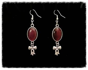 Pair of earrings with charms and cabochons Burgundy