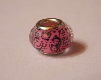 Nice ❥ faceted Charm pink with black acrylic and silver metal circles