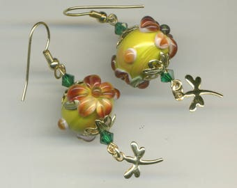 """-30% gold plated """"Dragonflies at the enchanted garden"""" earrings"""
