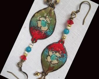 Bronze, copper enameled metal earrings...