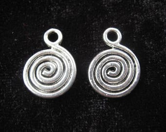 Set of 10 large spiral metal charms - size 18mmx13mm