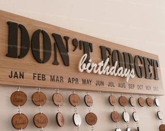 Customizable woodcut perpetual birthday calendar