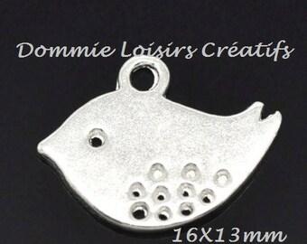 1 pendant charm bird cheep cheep silver 16 x 13 mm