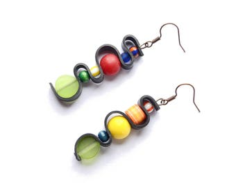 Ethnic earrings asymmetric and multi-colored rubber inner tube recycled