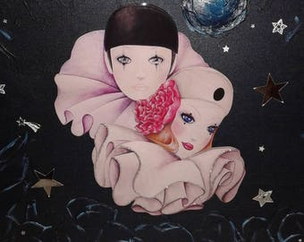 """Canvas 3d """"Pierrot and Colombine"""" on chassis-reserved"""