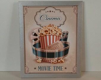 """Canvas 3d """"Vintage Cinema"""" framed"""
