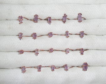 Copper rings come up of genuine French amethyst in lavender color, purple.