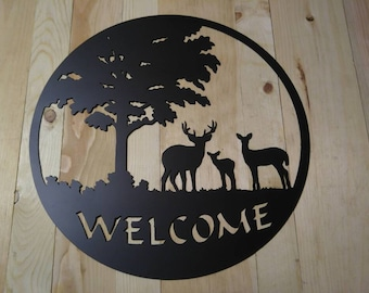 Deer Family Welcome Plasma Cut metal wall art
