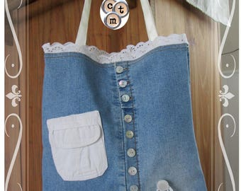 "Tote bag ""Romantic"", recycled denim"