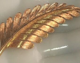 Vintage Monet Brushed Gold Fern Brooch