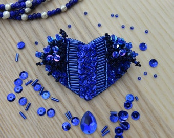 Royal Blue Heart Shaped Handmade Brooch Embroidered with Beads and Sequins