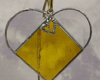 Stained Glass, NOVEMBER Birthstone, Birthstone Heart, Citrine, Yellow Topaz, Heart, Stained Glass Suncatcher, Handmade in USA