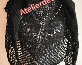 Shawl, scarf, black silk Alpaca hand knitted scarf