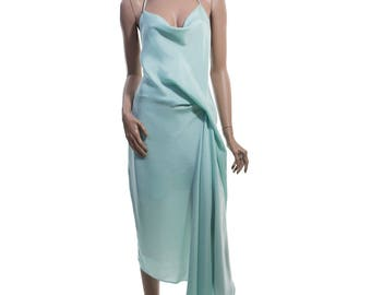 Draped Cocktail and Evening Dress in Mint-green color - Eco-friendly fabric