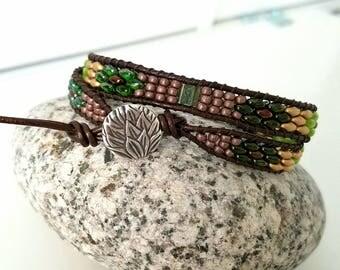 Sacred Forest Double Wrap Superduo Tila Beaded Bracelet