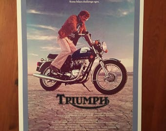 Vintage Triumph motorcycle reproduction poster