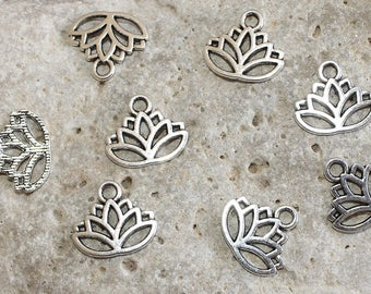 8 silver lotus flower charms