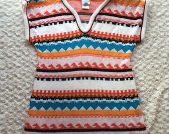 Vintage 70's White Stag Colorful Short Sleeve Sweater