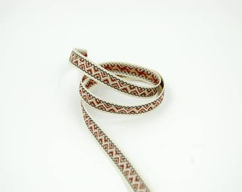 50 cm Burgundy ethnic stripe Ribbon 10 mm ecru