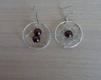 Brown and Silver earrings