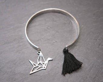 Silver Bangle - origami crane