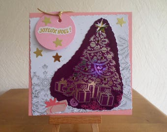 greeting card with FIR on Burgundy background