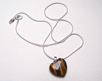 Tiger eye heart pendant and necklace 925 sterling silver snake chain.