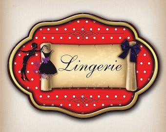 Vintage lingerie 007 door sign decal