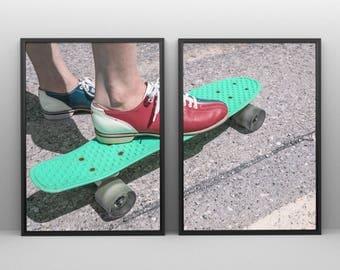2 Piece Skate Print, Skateboard Print, skateboard art, Digital Download, Wall Art Printable, Illustration Print,skateboard,minimalist print