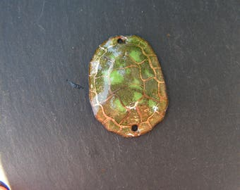 copper charm enamelled (hot) connector 3D turtle shell, green, gold
