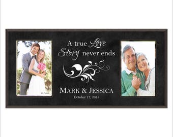 """Personalized Wedding Frame, Anniversary Frame, Double 4 x 6 Photo Frame, """"A true Love Story never ends"""" Laser Engraved, Great Gift"""