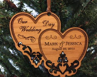 """Personalized Wedding Ornament, """"Our Wedding Day"""" Hanging, Ornament"""